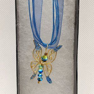 Artisan Made Blue Swallowtail Butterfly Necklace